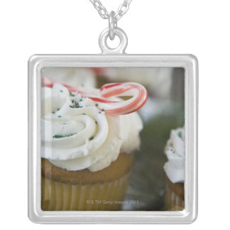 Decorated cupcakes silver plated necklace
