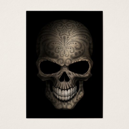 Decorated Dark Skull Business Card