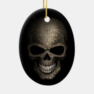 Decorated Dark Skull Christmas Ornament