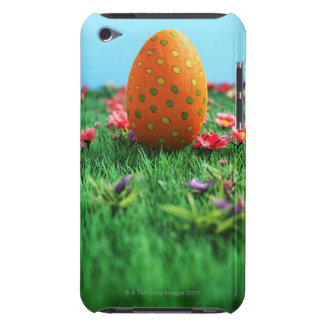 Decorated Easter egg amongst flowers on grass, Barely There iPod Cases