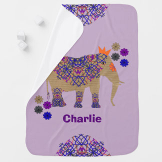 Decorated Elephant Cute Whimsy Fun Personalized Baby Blanket