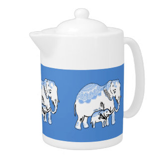 Decorated Elephants Blue and White Teapot