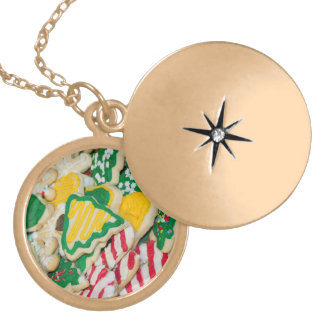 Decorated Frosted Homemade Christmas Sugar Cookies Locket Necklace