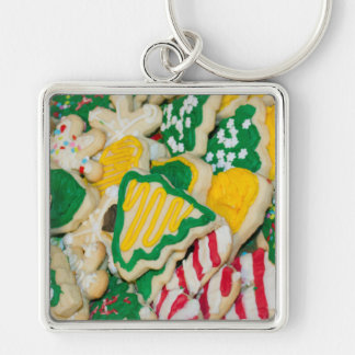 Decorated Frosted Homemade Christmas Sugar Cookies Silver-Colored Square Key Ring