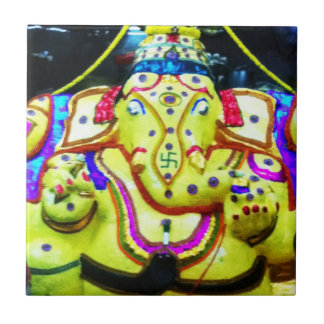 Decorated Ganesha Ceramic Tile