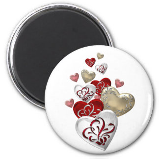 Decorated Hearts 6 Cm Round Magnet