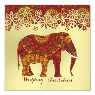 Decorated Indian Ornate Elephant Design 13 Cm X 13 Cm Square Invitation Card