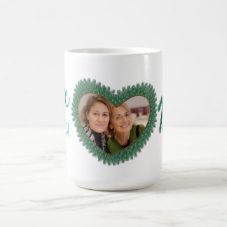 Decorated love you mom heart frame mugs