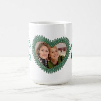 Decorated love you mom heart frame mugs