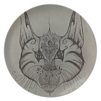 Decorated Lynx Dinner Plate
