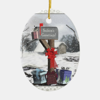 Decorated Mailbox Gifts Winter Scene Oval Ornament