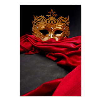 Decorated mask for masquerade on red velvet poster