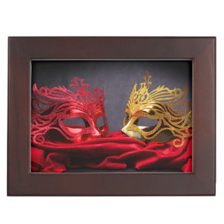 Decorated masquerade mask on red velvet keepsake box
