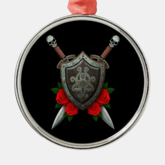Decorated Octopus Shield and Swords with Roses Christmas Tree Ornaments