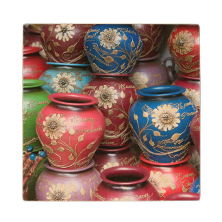 Decorated Pots, Huaraz, Cordillera Blanca Wood Coaster