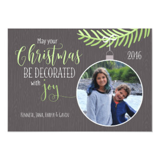 Decorated with Joy Gray/Green Christmas Card 13 Cm X 18 Cm Invitation Card