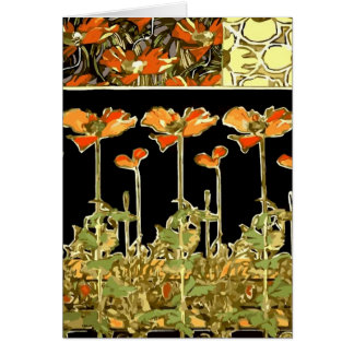 Decoratifs (Orange Flowers) by Alphonse Mucha Card
