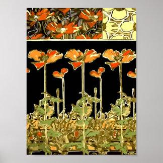 Decoratifs (Orange Flowers) by Alphonse Mucha  Vec Poster