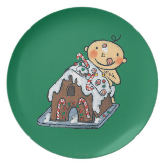Decorating a Gingerbread House for Christmas Plate
