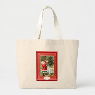 Decorating Santa's Christmas tree Tote Bags