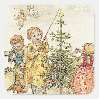 Decorating the Christmas Tree Square Sticker