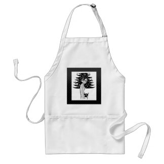 Decorating the Tree in Black and White Apron
