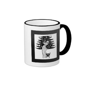 Decorating the Tree in Black and White Coffee Mugs