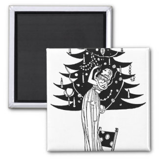 Decorating the Tree in Black and White Refrigerator Magnets