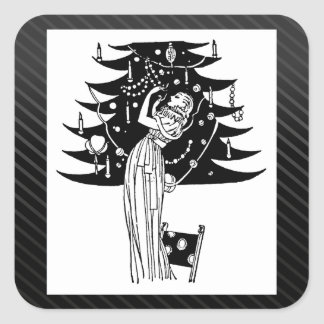 Decorating the Tree in Black and White Square Sticker