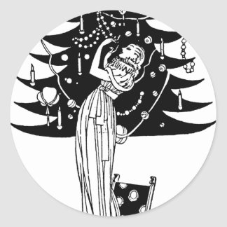 Decorating the Tree in Black and White Round Stickers