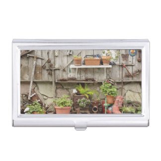 Decorations on wooden fence, Catalina Island, Business Card Holder