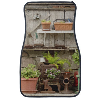 Decorations on wooden fence, Catalina Island, Car Mat