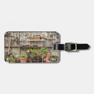 Decorations on wooden fence, Catalina Island, Luggage Tag