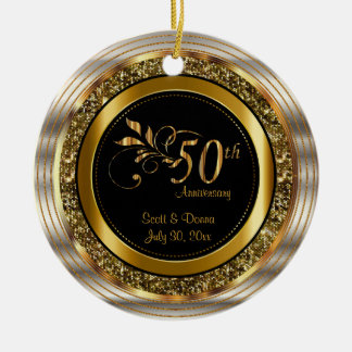 Decorative 50th Golden Anniversary Christmas Ornament