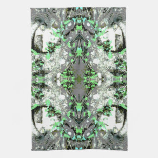 Decorative Abstract in Gray and Green. Tea Towel