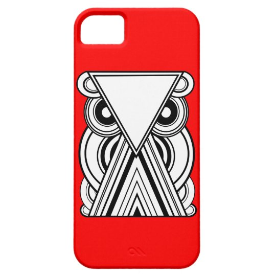 Decorative Abstract Owl (Black, White & Red) iPhone 5 Case