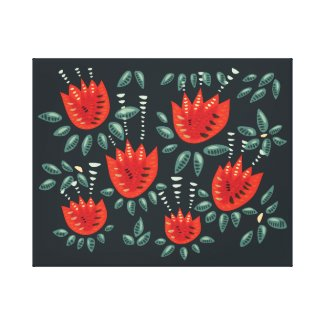 Decorative Abstract Red Tulip Dark Floral Pattern Canvas Print