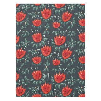 Decorative Abstract Red Tulip Dark Floral Pattern Tablecloth