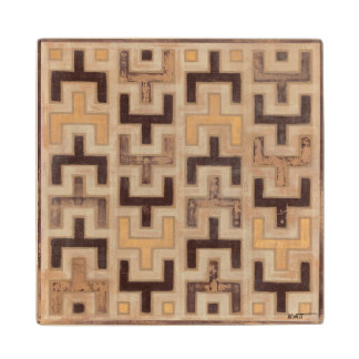 Decorative African Mudcloth Pattern Wood Coaster