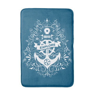 Decorative Anchor custom monogram bath mats