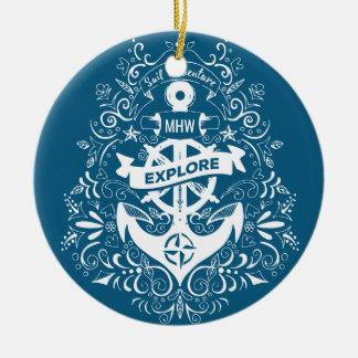 Decorative Anchor custom monogram ornament