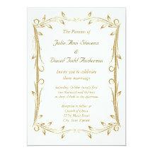 Decorative Antique Gold Border Wedding 13 Cm X 18 Cm Invitation Card
