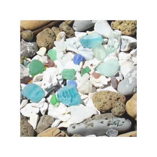Decorative Art Canvas Beach Sea Glass Fossils