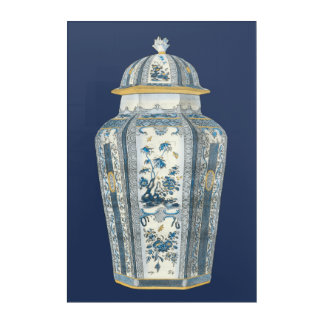 Decorative Asian Urn in Blue & White Acrylic Wall Art