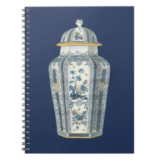 Decorative Asian Urn in Blue & White Spiral Note Books