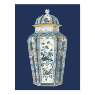 Decorative Asian Urn in Blue & White Postcard