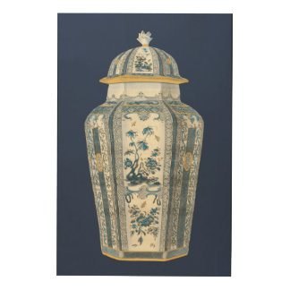Decorative Asian Urn in Blue & White Wood Wall Decor