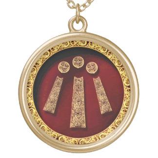 Decorative Awen Sigil Round Pendant Necklace