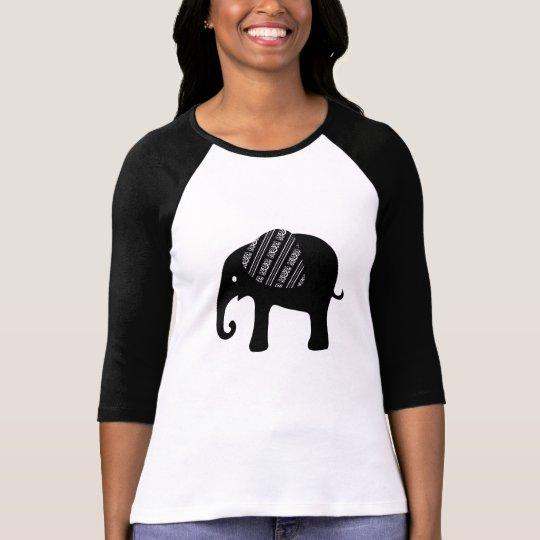 Decorative Baby Black Elephant Filigree Ear T-Shirt