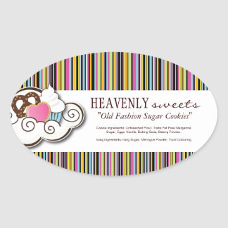 Decorative Bakery Ingredient Labels Oval Sticker